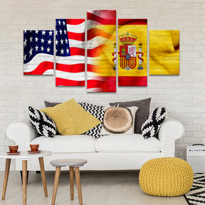 USA and Spain Flag Multi Panel Canvas Wall Art - Spain