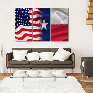 USA and Texas Flag Multi Panel Canvas Wall Art - Texas