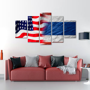 USA and Thailand Flag Multi Panel Canvas Wall Art