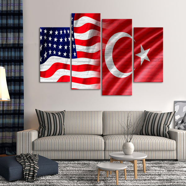 USA and Turkish Flag Multi Panel Canvas Wall Art & USA and Turkish Flag Multi Panel Canvas Wall Art | ElephantStock