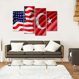 USA and Turkish Flag Multi Panel Canvas Wall Art