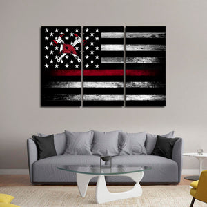 USA Firefighter Flag Multi Panel Canvas Wall Art - Firefighters