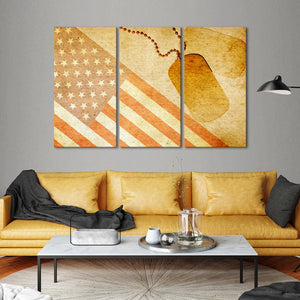 USA Flag with ID Tag Multi Panel Canvas Wall Art - America
