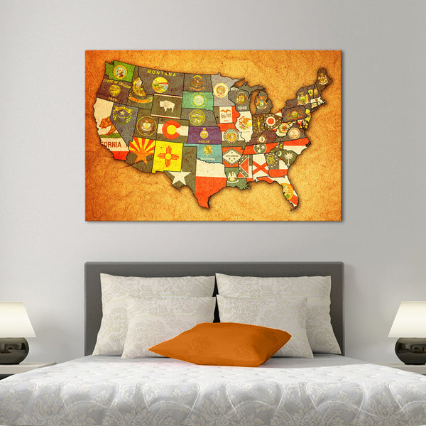 Multi Panel Canvas Wall Art usa state flags multi panel canvas wall art – elephantstock