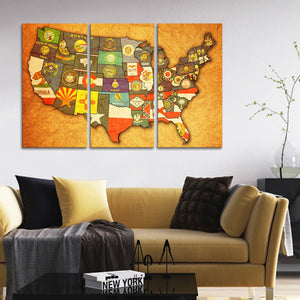 USA State Flags Multi Panel Canvas Wall Art - World_map