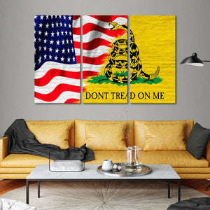 USA and Gadsden Flag Multi Panel Canvas Wall Art - America