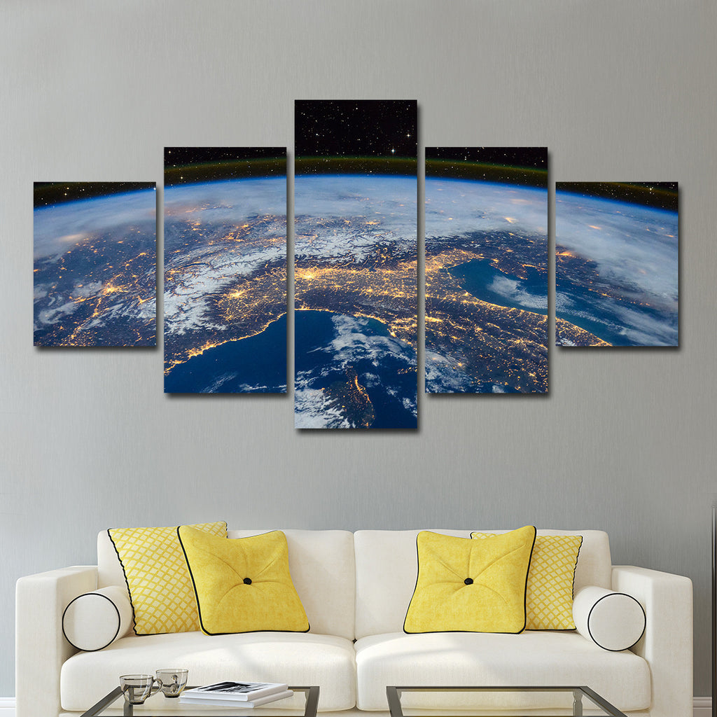 usa from space multi panel canvas wall art elephantstock. Black Bedroom Furniture Sets. Home Design Ideas