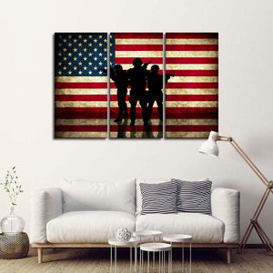 US Military Flag Multi Panel Canvas Wall Art - Army