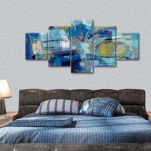 Ultramarine Waves III Multi Panel Canvas Wall Art - Abstract