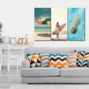 Summer Vibes Canvas Set Wall Art - Surfing