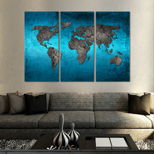 Ocean World Map Multi Panel Canvas Wall Art - World_map