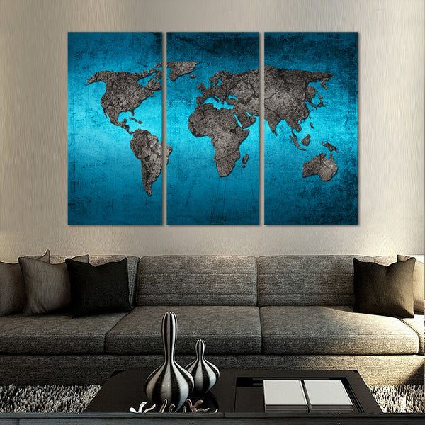 Ocean world map multi panel canvas wall art elephantstock ocean world map multi panel canvas wall art gumiabroncs Images