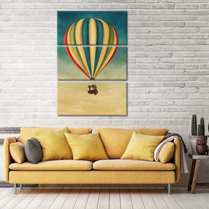 Up Up And Away Multi Panel Canvas Wall Art - Hot_balloon