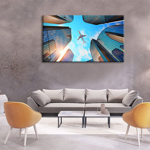Urban Flight Multi Panel Canvas Wall Art - Airplane