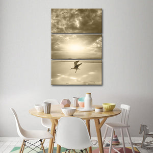Urgent Landing Multi Panel Canvas Wall Art - Bird