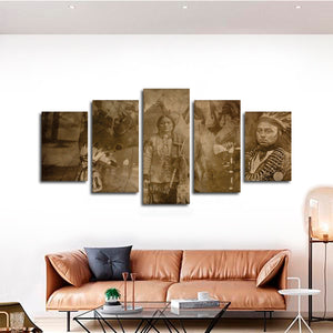 Ute Family Multi Panel Canvas Wall Art - Native_american
