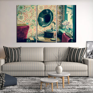 Vintage Gramophone Multi Panel Canvas Wall Art - Music