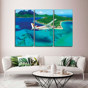 Vacation in Bora Bora Multi Panel Canvas Wall Art - Airplane