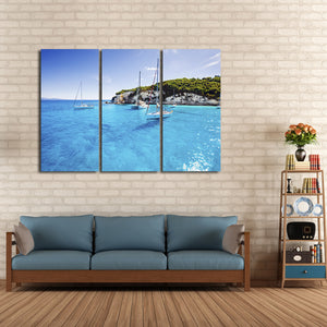 Vacation in Greece Multi Panel Canvas Wall Art - Beach