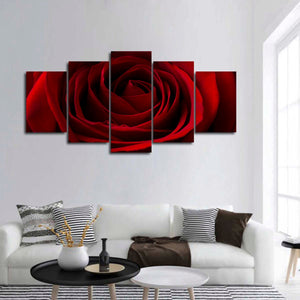 Valentine Red Rose Multi Panel Canvas Wall Art - Flower