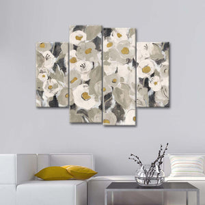 Velvety Florals Neutral Multi Panel Canvas Wall Art - Flower