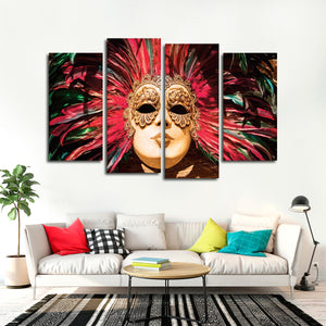 Venetian Mask Party Multi Panel Canvas Wall Art - Color