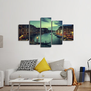 Venice at Sunset Multi Panel Canvas Wall Art - City