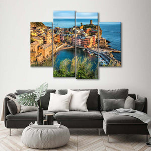 Vernazza At Sunset Multi Panel Canvas Wall Art - City