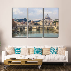 View Of Basilica Multi Panel Canvas Wall Art - City
