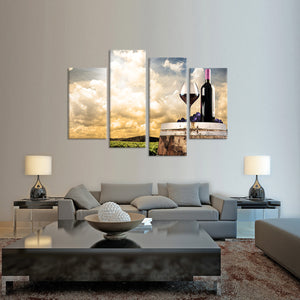 Vineyard at Sunset Multi Panel Canvas Wall Art - Winery