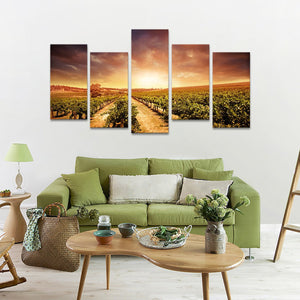 Vineyards At Sunset Multi Panel Canvas Wall Art - Winery