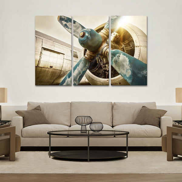 Vintage Airplane Multi Panel Canvas Wall Art
