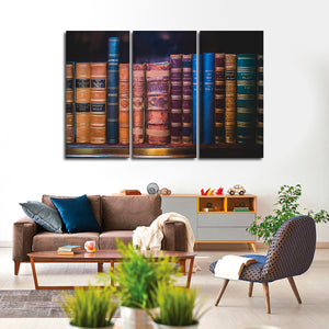 Vintage Books Multi Panel Canvas Wall Art - Education
