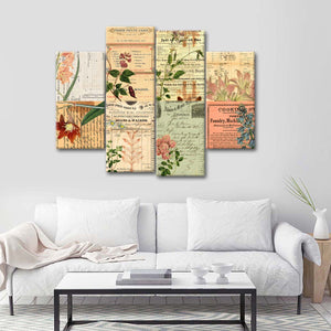 Vintage Botanical Collage Multi Panel Canvas Wall Art - Shabby_chic
