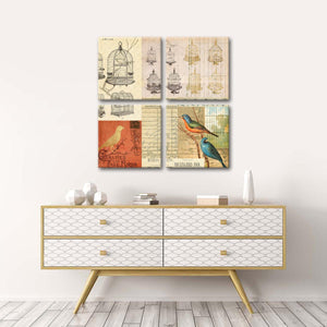 Vintage Canaries Multi Panel Canvas Wall Art - Shabby_chic