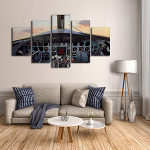 Vintage Cockpit Multi Panel Canvas Wall Art - Airplane