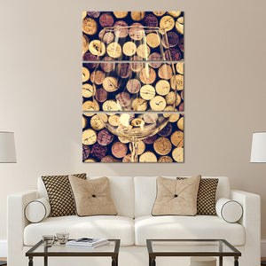 Vintage Corks Multi Panel Canvas Wall Art - Winery