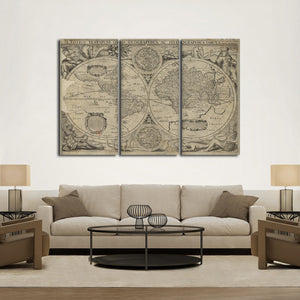 Vintage Double Hemisphere Map Multi Panel Canvas Wall Art - World_map