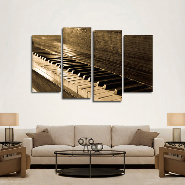 Vintage Piano Multi Panel Canvas Wall Art