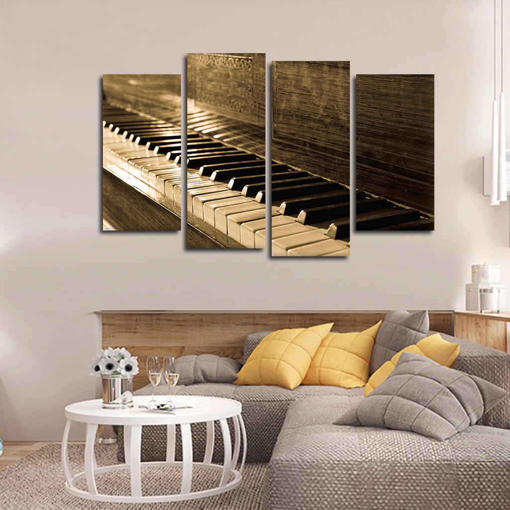 vintage piano multi panel canvas wall art elephantstock. Black Bedroom Furniture Sets. Home Design Ideas