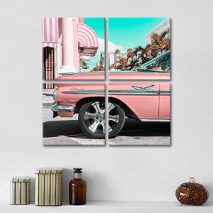 Vintage Pink Car Multi Panel Canvas Wall Art - Car