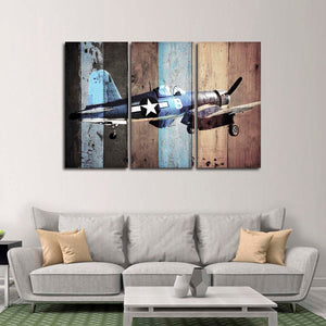 Vintage Vought F4U Corsair Multi Panel Canvas Wall Art - Airplane
