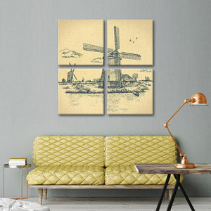 Vintage Windmill Multi Panel Canvas Wall Art - Windmill