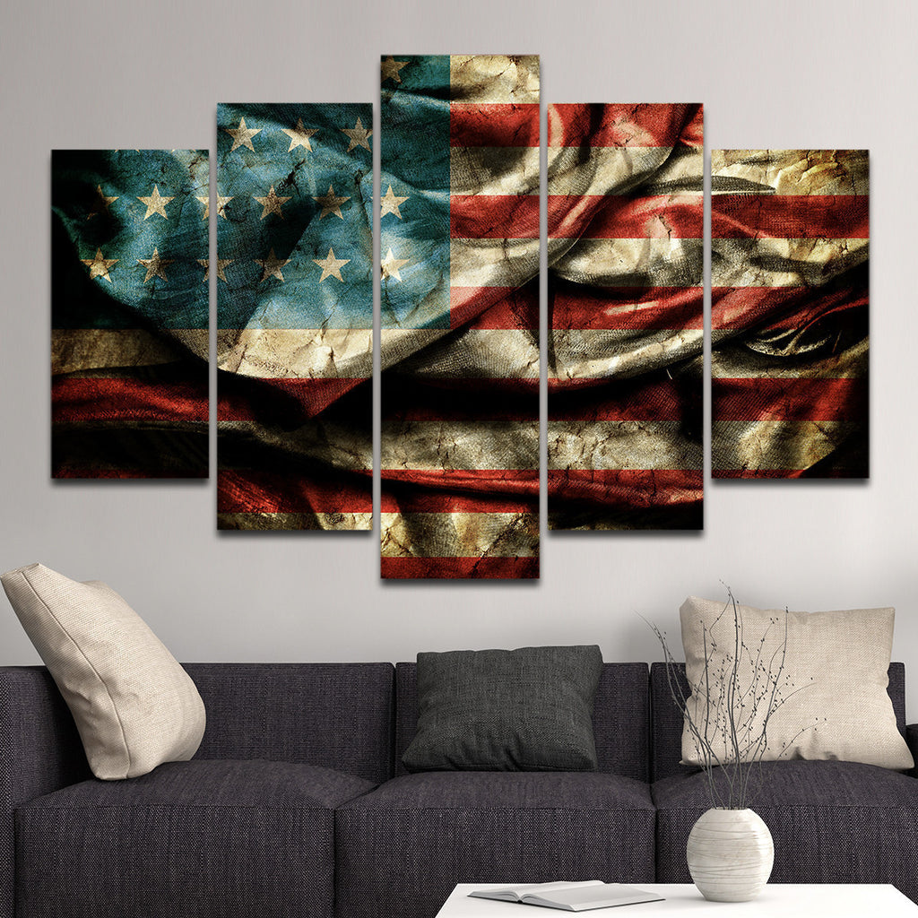 american flag wall art Vintage Windy American Flag Multi Panel Canvas Wall Art  american flag wall art