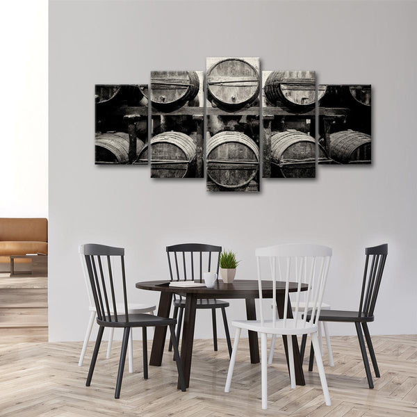 Aged Wine Barrels Multi Panel Canvas Wall Art