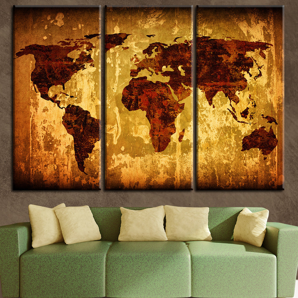 Vintage World Map Multi Panel Canvas Wall Art Elephantstock