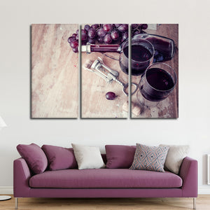Vintage Wine Multi Panel Canvas Wall Art - Winery