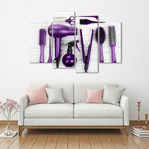 Violet Cut Multi Panel Canvas Wall Art - Hair