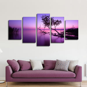 Violet Serenity Multi Panel Canvas Wall Art - Nature