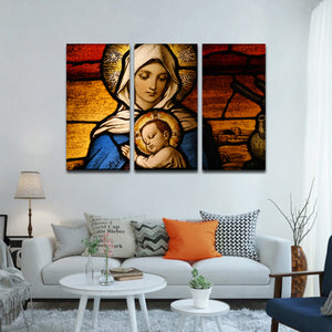 Virgin Mary Multi Panel Canvas Wall Art - Religion